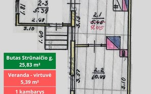 2 room apartment Švenčionių rajono sav., Švenčionyse, Strūnaičio g.